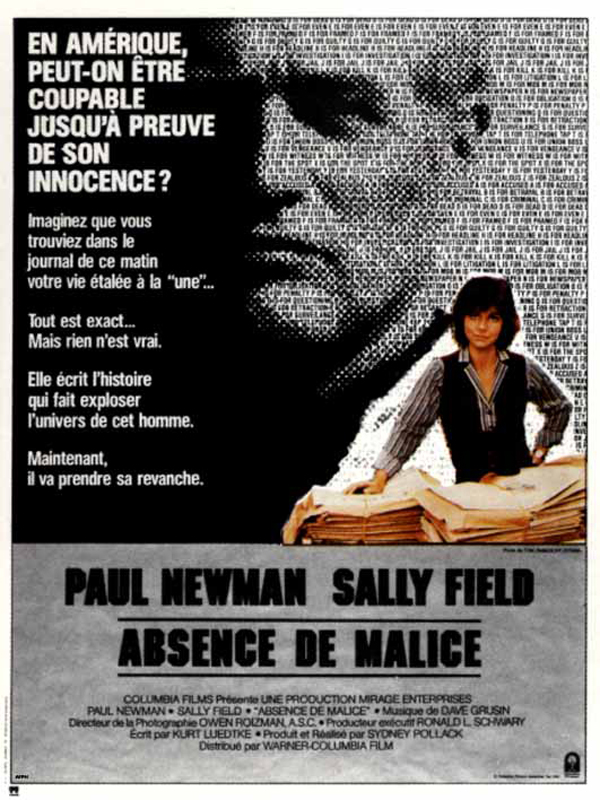 depiction of the media in the movie absence of malice Absence of malice (1981): sydney pollack melodrama about power of the press starring paul newman and sally field january 5, 2006 by emanuellevy leave a comment paul newman and sally field star in absence of malice follow emanuel levy on social media.