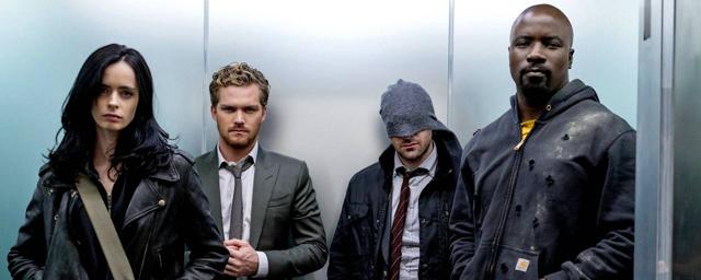Les Defenders vous attendent dans l'ascenseur sur la photo de la série Marvel