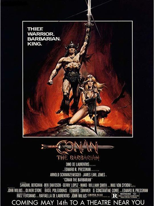 Conan le barbare : Affiche Arnold Schwarzenegger, John Milius, Robert E. Howard