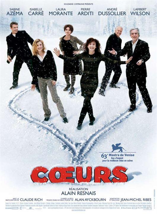 Coeurs : affiche Alain Resnais, André Dussollier, Isabelle Carré, Lambert Wilson, Laura Morante