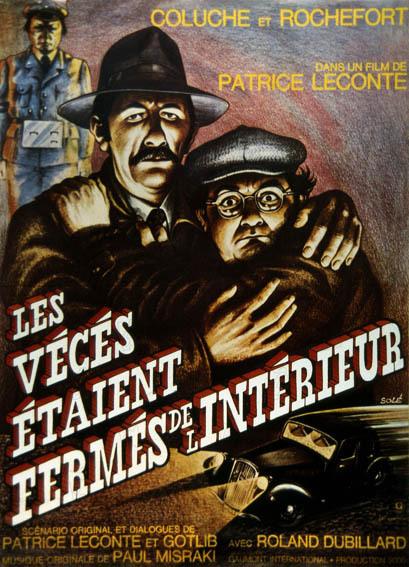 Les Vécés étaient fermés de l'intérieur : Affiche Coluche, Jean Rochefort