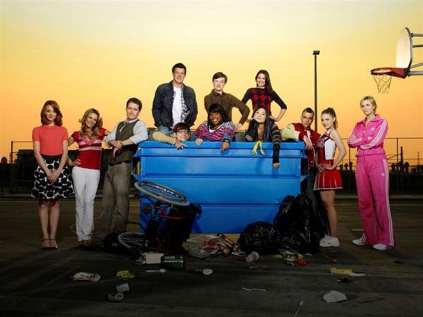 Glee : Photo Amber Riley, Chris Colfer, Cory Monteith, Dianna Agron, Jane Lynch