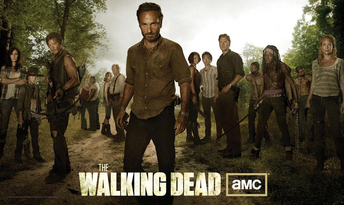 Photo Andrew Lincoln, Chandler Riggs, Danai Gurira, David Morrissey, Emily Kinney