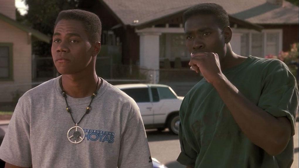 """Une des premières apparitions de Morris Chestnut à l'écran, aux côtés de Cuba Gooding Jr., dans """"Boyz'n the Hood"""" (1991)."""