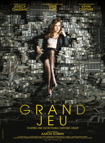Le Grand jeu d'Aaron Sorkin avec Jessica Chastain, Idris Elba, Kevin Costner...