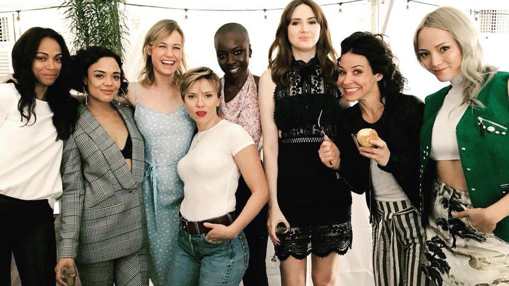 Gamora, Valkyrie, Captain Marvel, Black Widow, Okoye, Nebula, Hope Pym et Mantis