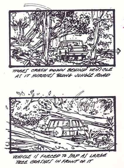 Alan et les enfants fuient dans la jungle à bord d'une jeep...