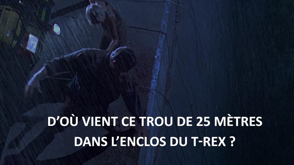 Jurassic Park - D'où vient ce trou de 25 mètres dans l'enclos du T-Rex ?