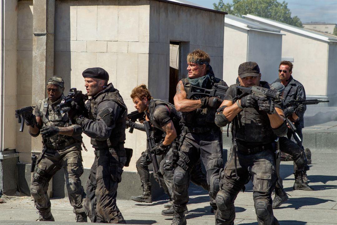 Expendables 3 : Photo Arnold Schwarzenegger, Dolph Lundgren, Jason Statham, Kellan Lutz, Randy Couture