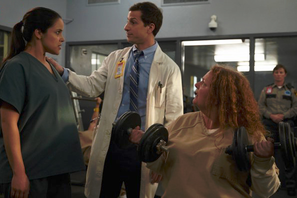 Photo Aida Turturro, Andy Samberg, Melissa Fumero