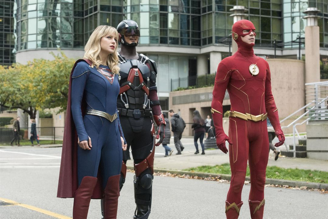Photo Brandon Routh, Grant Gustin, Melissa Benoist