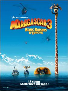 Madagascar 3 Bons Baisers D'Europe affiche