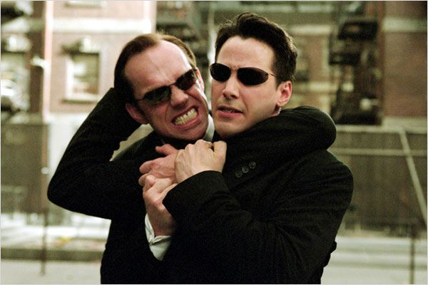 Matrix Reloaded : photo Andy Wachowski, Hugo Weaving, Keanu Reeves, Lana Wachowski