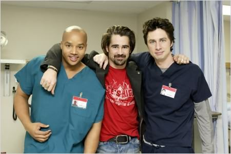 Scrubs : photo Colin Farrell, Donald Faison, Zach Braff