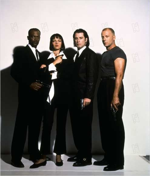 Pulp Fiction : photo Bruce Willis, John Travolta, Quentin Tarantino, Samuel L. Jackson, Uma Thurman