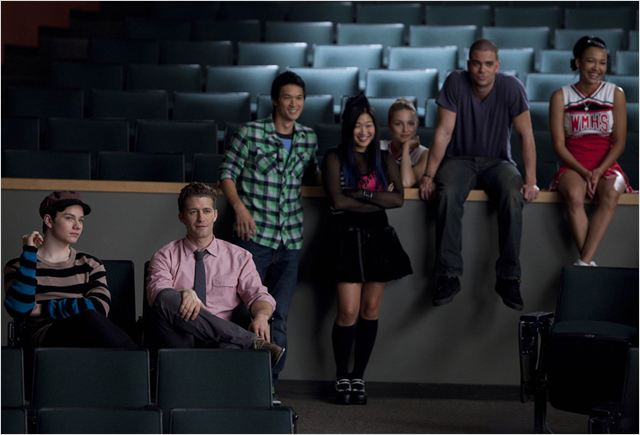 Glee : Photo Chris Colfer, Dianna Agron, Harry Shum Jr., Jenna Ushkowitz, Mark Salling