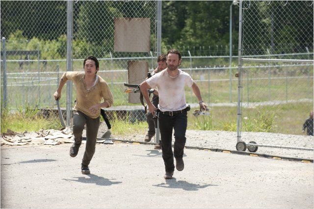 Photo Andrew Lincoln, Norman Reedus, Steven Yeun