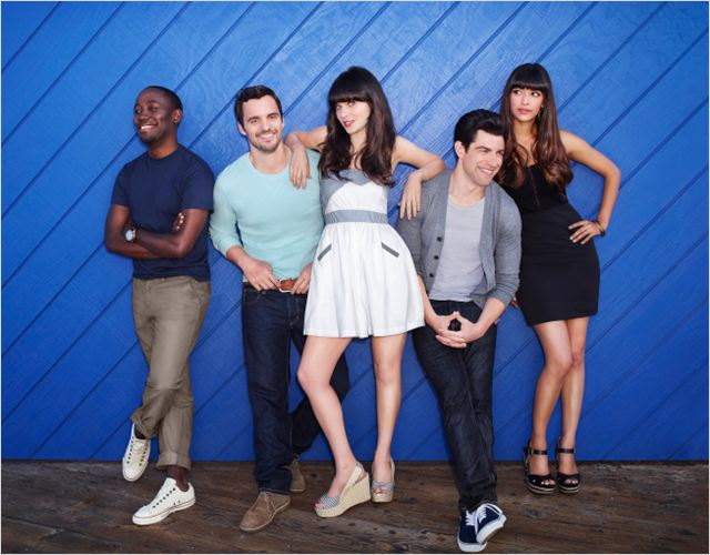 Photo Hannah Simone, Jake M. Johnson, Lamorne Morris, Max Greenfield, Zooey Deschanel