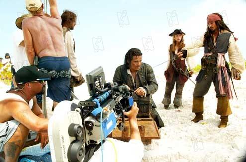 Orlando Bloom, Keira Knightley,  Johnny Depp et Gore Verbinski