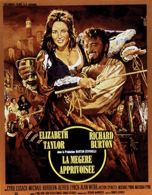La Mégère apprivoisée : Affiche Elizabeth Taylor, Franco Zeffirelli, Richard Burton