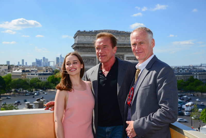 Terminator Genisys : Photo promotionnelle Alan Taylor, Arnold Schwarzenegger, Emilia Clarke