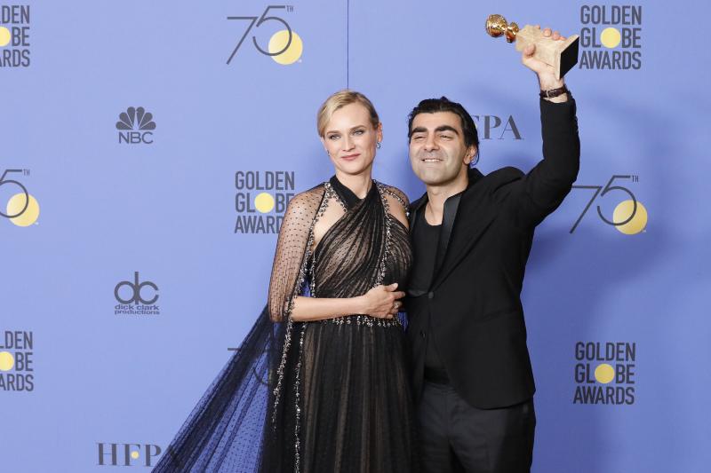 """<span>Faith Akin et Diane Kruger - Golden Globe du meilleur film en langue étrangère pour """"In The Fade"""" - 7 janvier 2018</span>"""